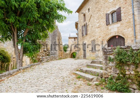 View on provencal village roof and landscape, Provence, France. On sunny summer day. - stock photo