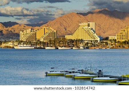 View on resort hotels and marina of Eilat, Israel - stock photo