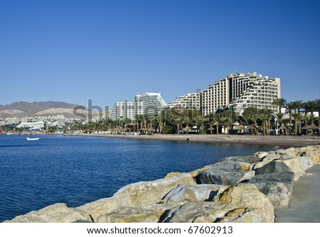 View on resort hotels and recreation areas Eilat city, Israel - stock photo