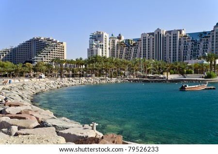 View on resort hotels from the northern beach of Eilat - one of the famous cities in Israel - stock photo