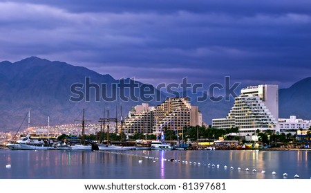 View on resort hotels of Eilat and northern beach of the Aqaba gulf, Red Sea, Israel - stock photo