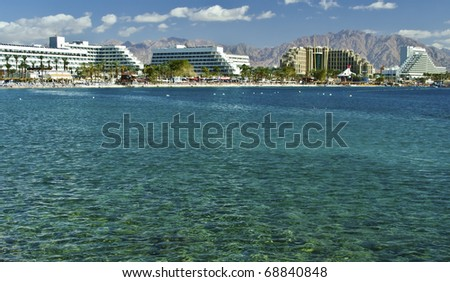 view on resort hotels of Eilat city, Israel - stock photo