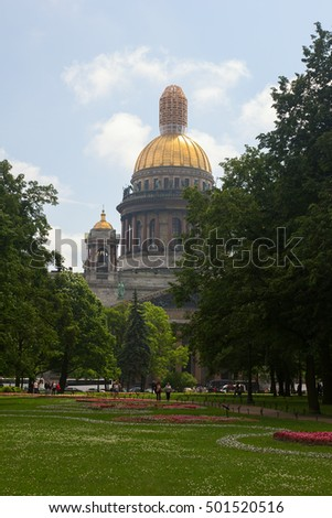 View on Saint Isaac's Cathedral from the park