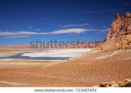 view on salt lake Salar de Tara, Chile - stock photo