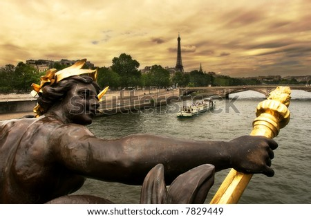 View on Seine River and Eiffel Tower from Alexander III bridge (pont Alexandre III) in Paris, France. - stock photo