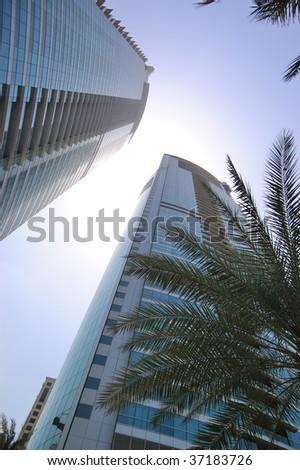 View on skyscrapers, Dubai, United Arab Emirates - stock photo