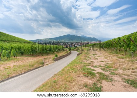 view on small town on Alsace Wine Route , France - stock photo