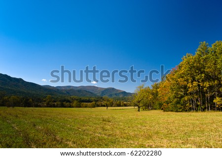 View on Smoky Mountains from Cades Cove, fall season - stock photo