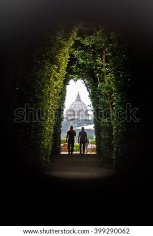 View on St Peter's Basilica as seen through the Aventine Keyhole, Rome - stock photo