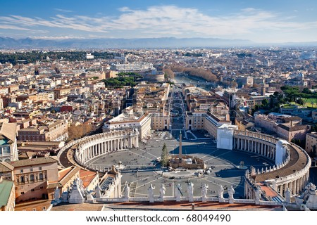 view on St.Peter Square from roof of St.Peter Basilica - stock photo