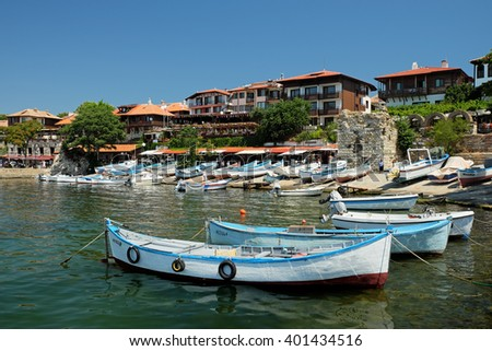 View on street Angelo Roncalli and southern harbour in old town of Nessebar, Bulgaria