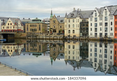 view on streets and houses at city of Alesund , Norway, horizontal