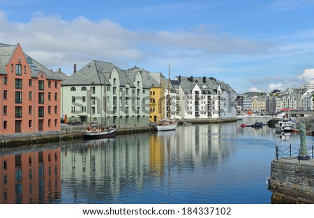 view on streets and houses at city of Alesund , Norway, horizontal - stock photo