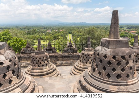 View on stupas and landscape in Borobudur temple