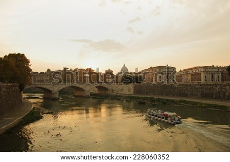 View on sunset over the Tibre, Rome, Italy - stock photo