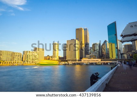 View on Sydney downtown at Circular quay with ferry terminal in daytime - stock photo
