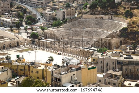 View on the ancient Roman Theater located in capital of Jordan, Amman - stock photo