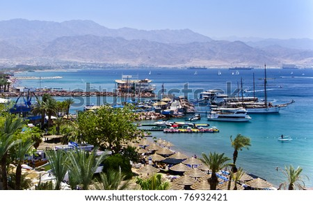 View on the Aqaba gulf from the northern beach of Eilat city, Israel - stock photo