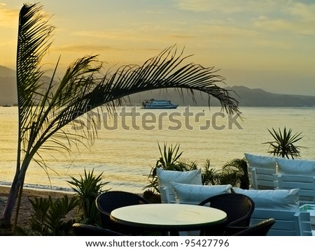 View on the Aqaba gulf (Red Sea) from a coastal restaurant in Eilat, Israel - stock photo