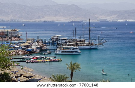 View on the Aqaba gulf (Red Sea) from northern beach of Eilat, Israel - stock photo