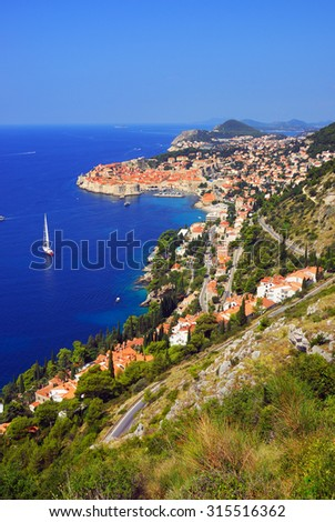 View on the beautiful coastline and old town of Dubrovnik in Croatia - stock photo