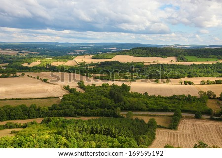 View on the beautiful countryside of Burgundy in France, near Vezelay