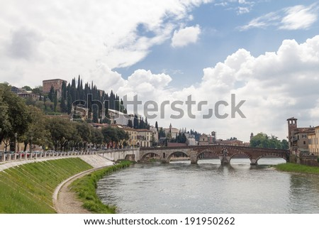 View on the bridge of St. Peter in Verona, Italy - stock photo
