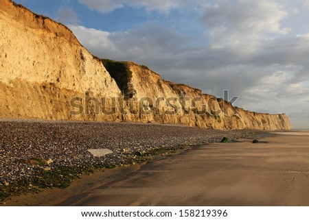 View on the cliff and the beach at the cap Blanc-nez, in the north of France near Boulogne-Sur-Mer. - stock photo