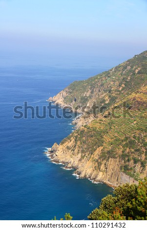 View on the coast of Cinque Terre, Italy. - stock photo