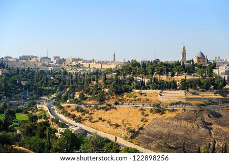 View on the Dormition Abbey and city center - stock photo