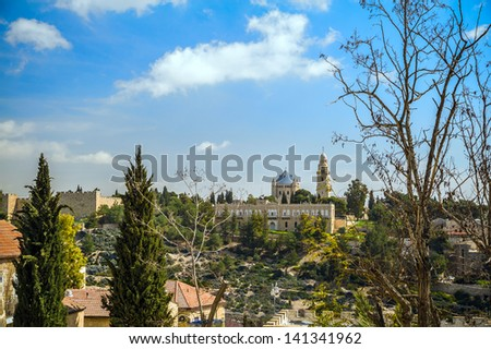 View on the Dormition Abbey and old city of Jerusalem - stock photo