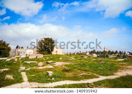 View on the Dormition Abbey and The St. Andrew's Scottish church - stock photo