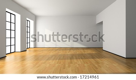 View on the empty room 3D rendering - stock photo
