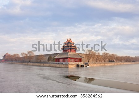View on the famous Beijing Palace Museum in winter time - stock photo