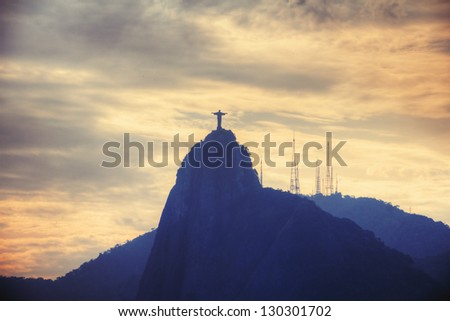View on the famous Christ the Redeemer in Rio de Janeiro - stock photo