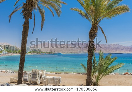 View on the gulf of Aqaba from central beach of Eilat, Israel - stock photo