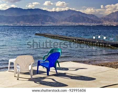 view on the gulf of Aqaba (Red Sea) from the southern beach near Eilat, Israel - stock photo