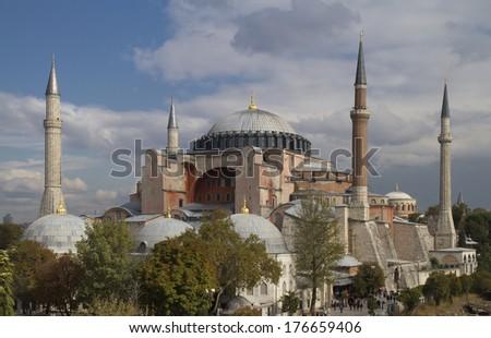 View on the Hagia Sophia in Istanbul Turkey - stock photo