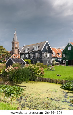 View on the historic town of Marken near Amsterdam, Holland. - stock photo