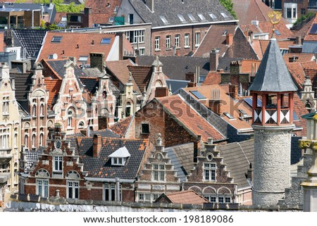View on the historical center of Gent with it's gabled houses. - stock photo