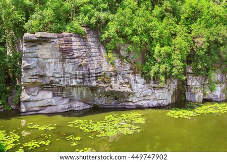 View on the huge cliff in Buky Canyon, Cherkasy region, Ukraine - stock photo