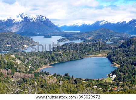 View on the lake Nahuel Huapi near Bariloche, Argentina, from Cerro Campanario