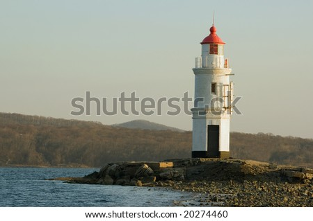 View on the lighthouse on the coast. Vladivostok, Russia