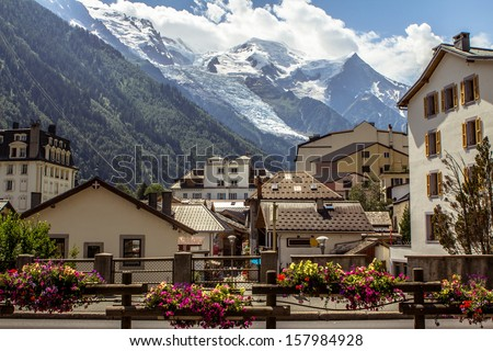 View on the Mont Blanc massif and glacier from Chamonix