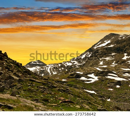 View on the Monte Moro pass in Swiss Alps - stock photo