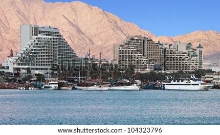 View on the northern beach of Eilat - famous resort city in Israel - stock photo