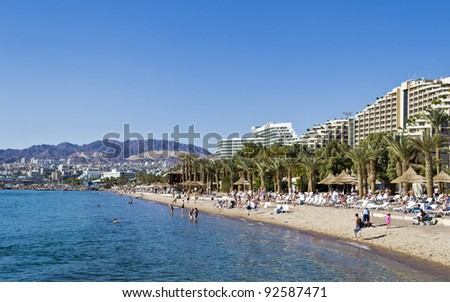 View on the northern beach of Eilat, Israel - stock photo