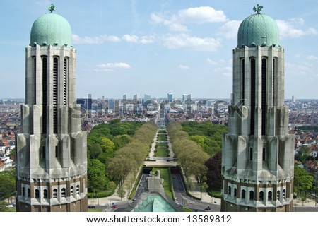 View on the northern-central part of Brussels from National Basilica of Koekelberg (90 meters high) - stock photo