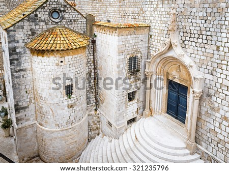 View on  the old city of Dubrovnik from the fortification wall, Croatia - stock photo