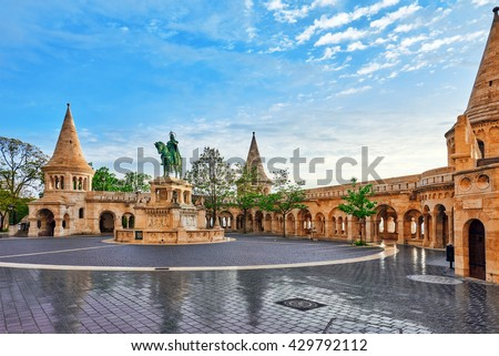 View on the Old Fisherman Bastion in Budapest. Statue Saint Istvan - stock photo